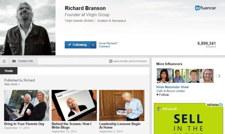Richard Branson LinkedIn Profile 1