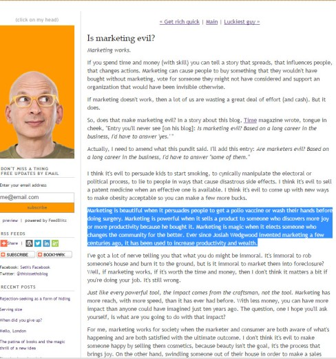 Seth Godin is marketing evil 2